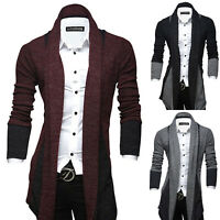 Fashion Men Long Knitted Cardigan Slim Fit Jumper Sweater Coat Jacket Outwear