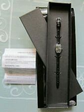 "KRIPPL Damen- Armbanduhr "" Ascot "" Silber 925 Lederarmband schwarz"