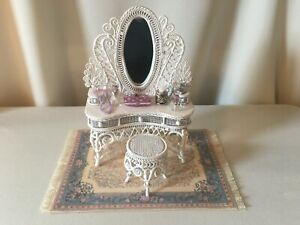 """Dollhouse """"Windsor Collection"""" White Wire Wicker Vanity & Stool with Extras"""