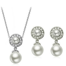 Bridal Jewellery Set White Pearl & Silver Drop Circle Earrings & Necklace S615