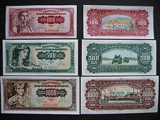 YUGOSLAVIA  100 + 500 + 1000 Dinara 1963  (P73a + P74a + P75a)  UNC