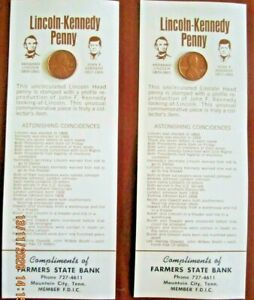 2 cards with Lincoln-Kennedy Coincidences