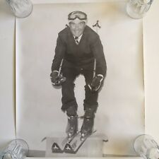 Vintage Large Black/White Photo Man Wearing Kneissl Skis Suit and Tie 20 x 25
