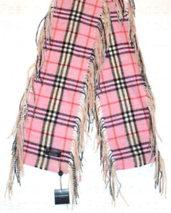 Burberry 100% Cashmere Pink Check Happy Fringe Scarf