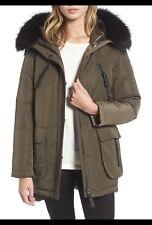 NEW $695 Derek Lam 10 Crosby Hooded Dark Army GREEN Size M Winter Parka Coat Fur