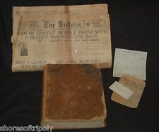 1853 ID'd FAMILY BIBLE IOWA & SAN FRANCISCO NEWSPAPER  ~ CONVICT ~ MISC. PAPERS