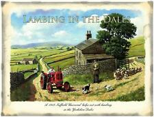 RED TRACTOR LAMBING IN DALES,STEEL WALL PLAQUE QUALITY METAL RETRO SIGN TIN GIFT