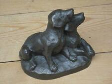 Heredities ? Alert Labrador Puppies Bronzed Finish Resin Figure Home Decor J7