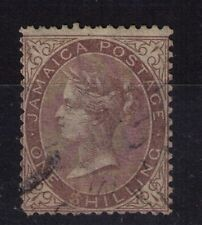 Jamaica 1860 QV 1s dull brown with $ for S in shilling variety,  fine used
