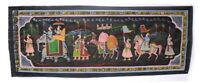 Parete Pittura Mughal Su Seta Arte Scena Di Vita India 98x38cm 2