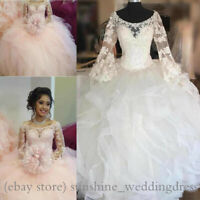 Princess Lace Appliques Quinceanera Dresses Sweet 16 Long Sleeve Prom Party Gown