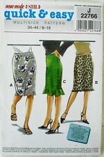 Neue Mode 22766 Quick & Easy Misses Skirts Sewing Pattern Sz 8-18