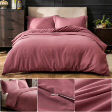 3 Piece Duvet Quilt Cover Set & Pillow Case Bedding Set Queen Size Vintage Pink