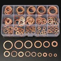 150pcs 15 Size Assorted Metric Copper Crush Gasket Washers Sealing Ring Set+ Box