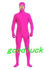 Open Face Pink Lycra Spandex Party Cosplay Costume Full body Zentai Suit--S-XXL