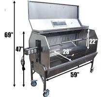 "59"" Spit Pig roaster rotisserie 304 Stainless Steel w/ XXL Enclosed Hood"
