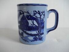 Vintage Blue Coffee Cup Mug Winter Scene Snow Barn Cow Horse Sleigh Japan