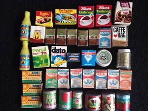 Toy Play Food Vintage German Dollhouse Miniature Boxes & Tins
