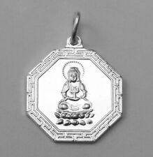 Sterling Silver Ba Gua Yin Yang Kwan Yin Buddha Goddess Pendant Charm NEW