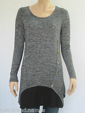 Crossroads Ladies Long Sleeve Dye Tunic Top sizes 8 10 14 Colour Grey Space Dye