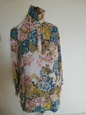 Joules long sleeved vintage look floral tunic shirt with pockets size 12