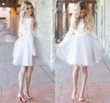 Above Knee Lace Long Sleeve Beach Wedding Dress White Ivory Bridal Gown Short