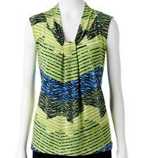 NWT Dana Buchman Knot Front, V-Neck Palm Stripe Top Women Size Large