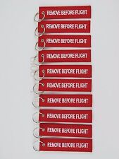 NEW PACK OF 10 White/Red Remove Before Flight Keychain Aviation Tags Rings
