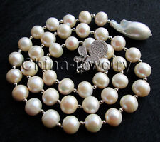 "P6640-22"" 22mm keshi reborn pearl+11mm round freshwater pearl necklace-925silver"