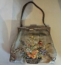 Antique Vintage 1920s Sensational Lame Purse Embroidered W/ Flower Glass Beads