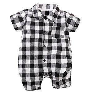 Baby Boy One-piece Lapel Collar Short Romper Jumpsut Plaid Print Crotch Bodysuit
