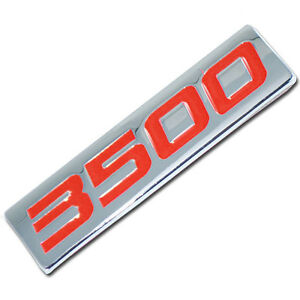 CHROME/RED METAL 3500 SERIES ENGINE MOTOR SWAP BADGE FOR TAILGATE HOOD DOOR