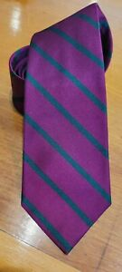 Long Lands End Magenta & Green Striped Silk Tie Made in USA