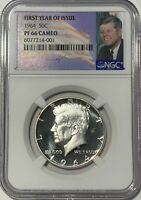 1964 NGC PF66 CAMEO SILVER PROOF KENNEDY FIRST YEAR OF ISSUE JFK COIN SIGNATURE