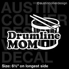"6.5"" DRUMLINE MOM vinyl decal car window laptop sticker - marching band"