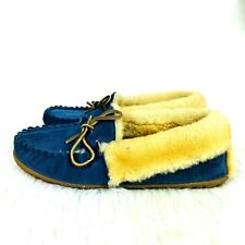 LL Bean Wicked Good Shearling Slippers size 11 Women Blue Suede Moccasins 130484