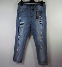 Women bebe Denim Boyfriend Distressed Jeans Super Destroy Size 28 New Under $25