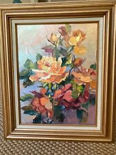 Original Floral Oil Painting by Rose Edin, Minnesota artist, 1990, signed