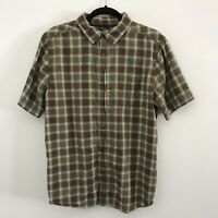 The North Face Mens M Medium Green Brown Plaid Check S/S Button Front Shirt