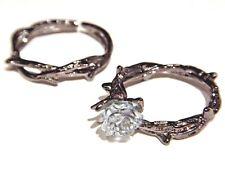 BLACK THORNS BLUE ROSE RING SET gunmetal silver clear vine crown gothic pair 3I
