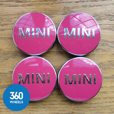 4 x NEW GENUINE ORIGINAL MINI ALLOY WHEEL CENTRE CAPS HUB BADGES PINK F56
