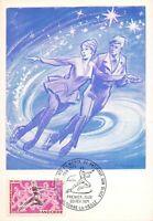 Carte Maximum FDC ANDORRE CHAMPIONNATS DU MONDE DE PATINAGE SUR GLACE 1971