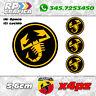 KIT 4 ADESIVI ABARTH COPRI MOZZO sticker FIAT 500 595 695 black & yellow