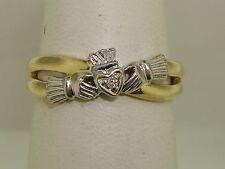 BEAUTIFUL SOLVAR 14K GOLD W/DIAMOND IRISH CLADDAGH CROSSOVER RING! SZ 5.75