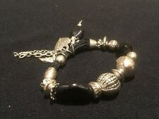 bead and charm bracelet Modern black and silver heavy