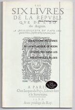 LENGER LES EDITIONS ANCIENNES DE LA REPUBLIQUE DE JEAN BODIN 1983 BIBLIOGRAPHIE