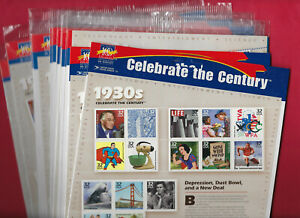 12 US Celebrate the Century 1930s with SUPERMAN, sealed sheets, MNH, Face $57.60