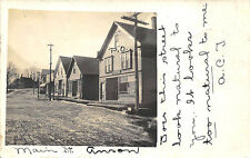 North Anson ME Dirt Main Street Store Fronts Post Office in 1905 RPPC Postcard