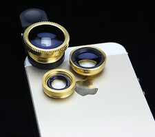 3 in 1 Camera  R Gold Micro Nice Lens Wide Angle Fish Eye for iPhone