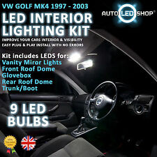 Vw Golf Mk4 1998 - 2003 blanco Led lámpara interior Set Kit Bulbos Xenon Smd